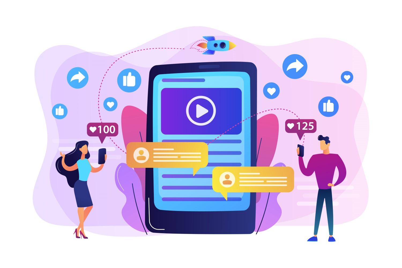 Ilustração de smartphone com vídeo na tela. Vários likes ao redor. Duas pessoas, um homem e uma mulher, também utilizam o celular e mexem em redes sociais.